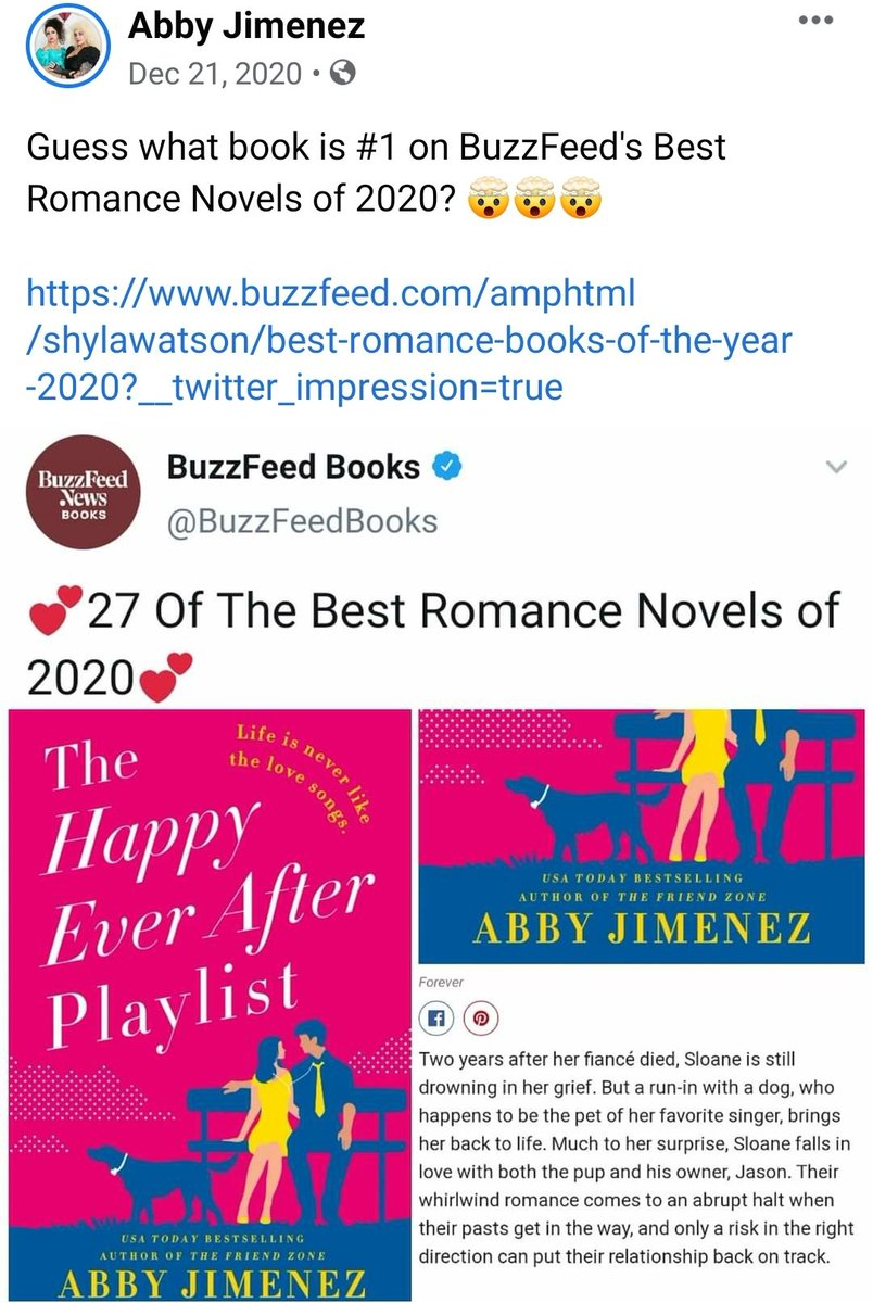 Taking this opportunity to say congratulations Abby to @AuthorAbbyJim (since it is trending) @BuzzFeed  #1 book The Happy Ever After Playlist #womenempowerment #romancenovels #Abby