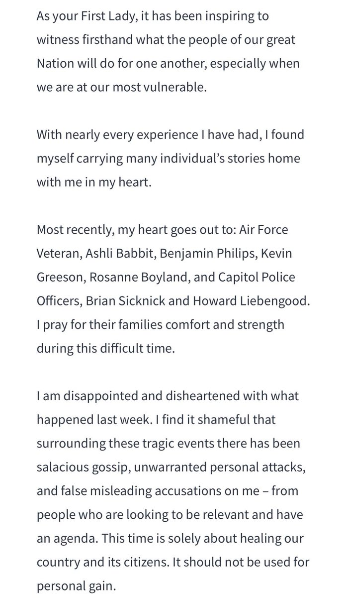 I don't remember First Lady Laura Bush posting a tribute to the terrorists' loss of life during 9/11 but that is exactly what Melania Trump just did. Notice her heart goes out to the terrorists FIRST. Officers Sicknick and Liebengood are an afterthought.  #TrumpInsurrection🇺🇸🆘