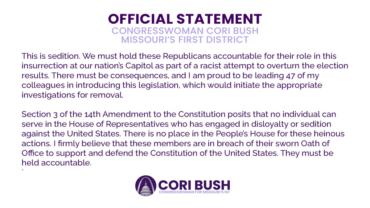 I just introduced H.Res. 25, which would initiate investigations for removal of the members who attempted to overturn the results of the election and incited a white supremacist attempted coup.  Grateful for the 47 of my colleagues who have co-sponsored this legislation.