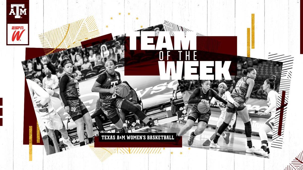 Aggies earn Team of the Week honors after winning back-to-back top-15 games 😤 🔗 aggi.es/3sauZvH #GigEm   @ESPN_WomenHoop