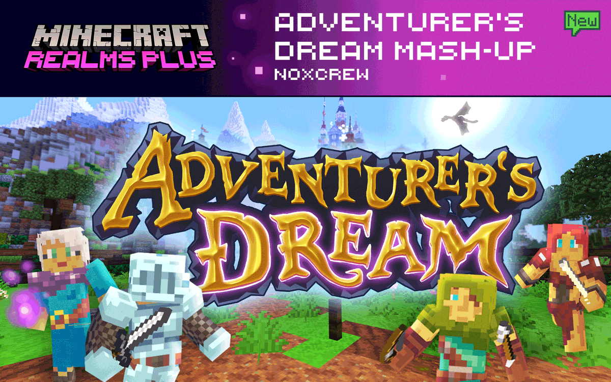 Explore a magical world full of ancient castles, mythical treasures and hidden secrets on your quest to summon the legendary dragon! Check out Adventurer's Dream by @Noxcrew. Now on Realms Plus!  ⚔️