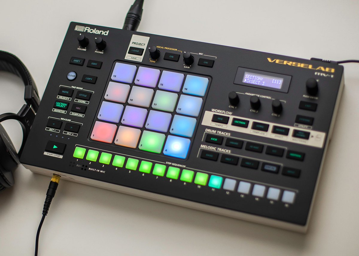 Put it all together w/ the new @Roland_US Verselab MV-1. From building beats to sequencing melodies to tracking your vocals, MV-1's simplified workflow, built-in sounds & mastering takes you from idea to finished song, all in one groove box.  Check it out: