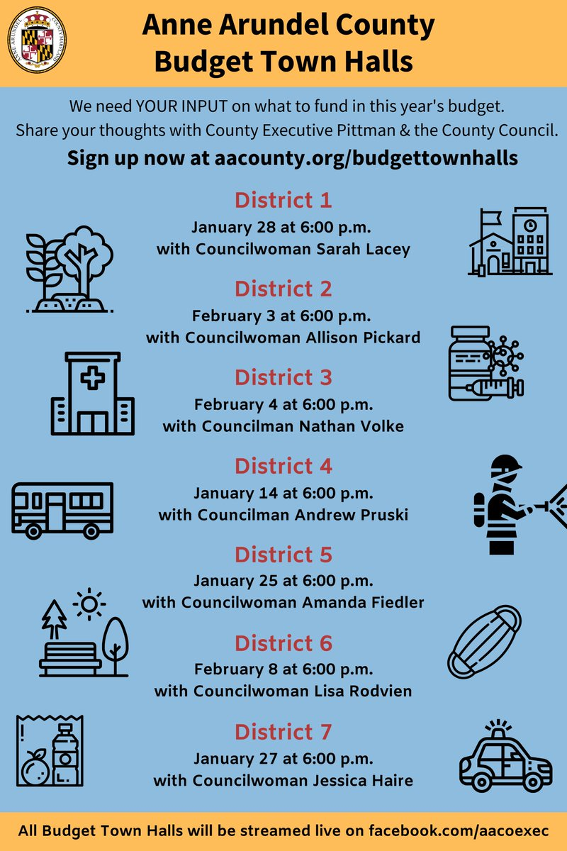 @AACoExec Budget Town Halls begin this evening with Councilman @Andrew_Pruski, District 4.   Registration is required!  If you are interested in participating and having your comments heard, register NOW below!  https://t.co/IOnC59T4hU https://t.co/QtpP9cmNlP