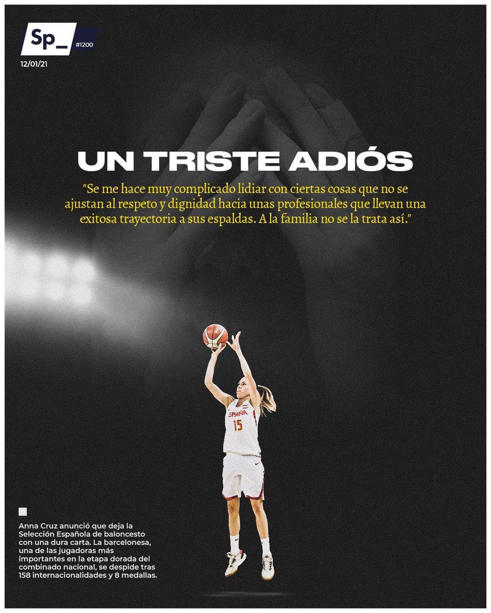 Anna Cruz anunció que deja la Selección Española de baloncesto con una dura carta. La barcelonesa, una de las jugadoras más importantes en la etapa dorada del combinado nacional, se despide tras 158 internacionalidades y 8 medallas. #PortadaSp_