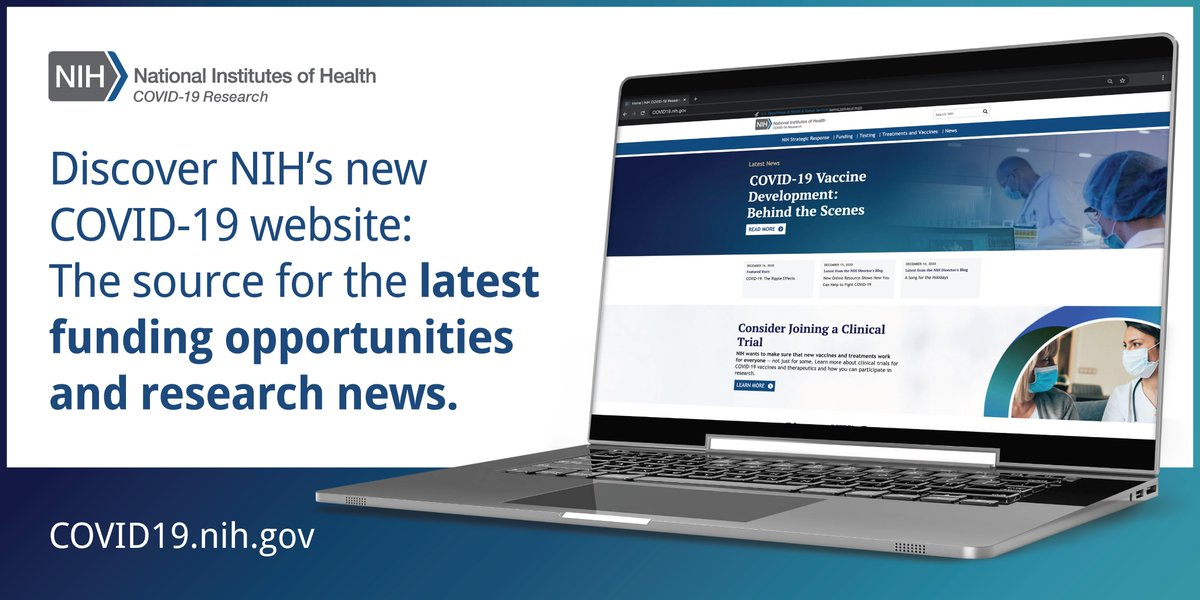 Want access to the latest #NIH #COVID19 research information? Our new COVID-19 website is your best resource for #research news, funding opportunities, and open #ClinicalTrials.