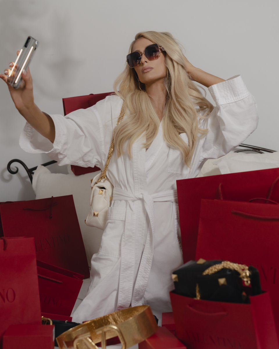 @ParisHilton is photographed in Beverly Hills for a new story featuring full Valentino looks, including the Valentino Garavani #RomanStud. Shop the looks at    #ValentinoNewsstand