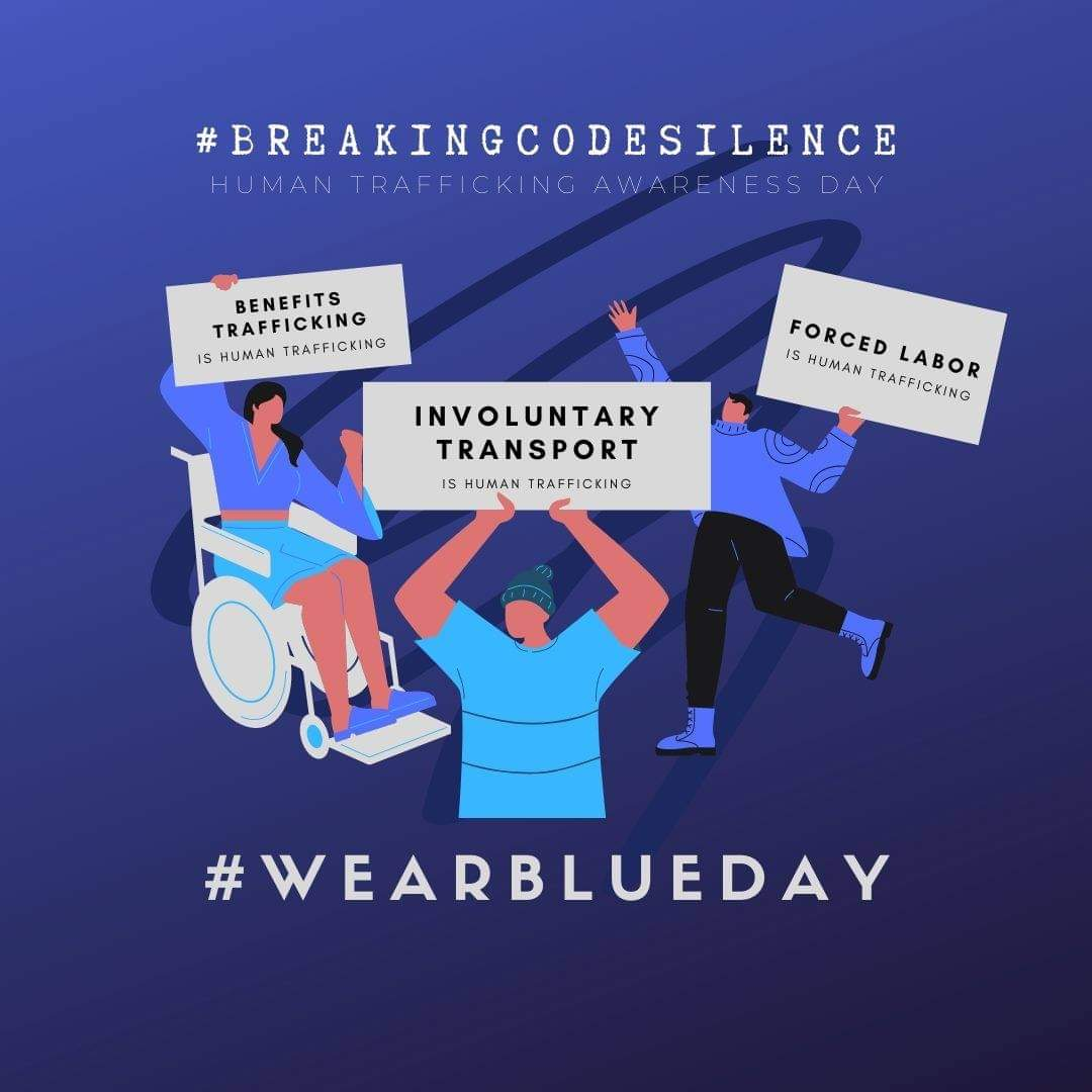 Today I am #breakingcodesilence and participating in #WearBlueDay to help spread the word that #benefitstraffickingishumantrafficking Will you join me?
