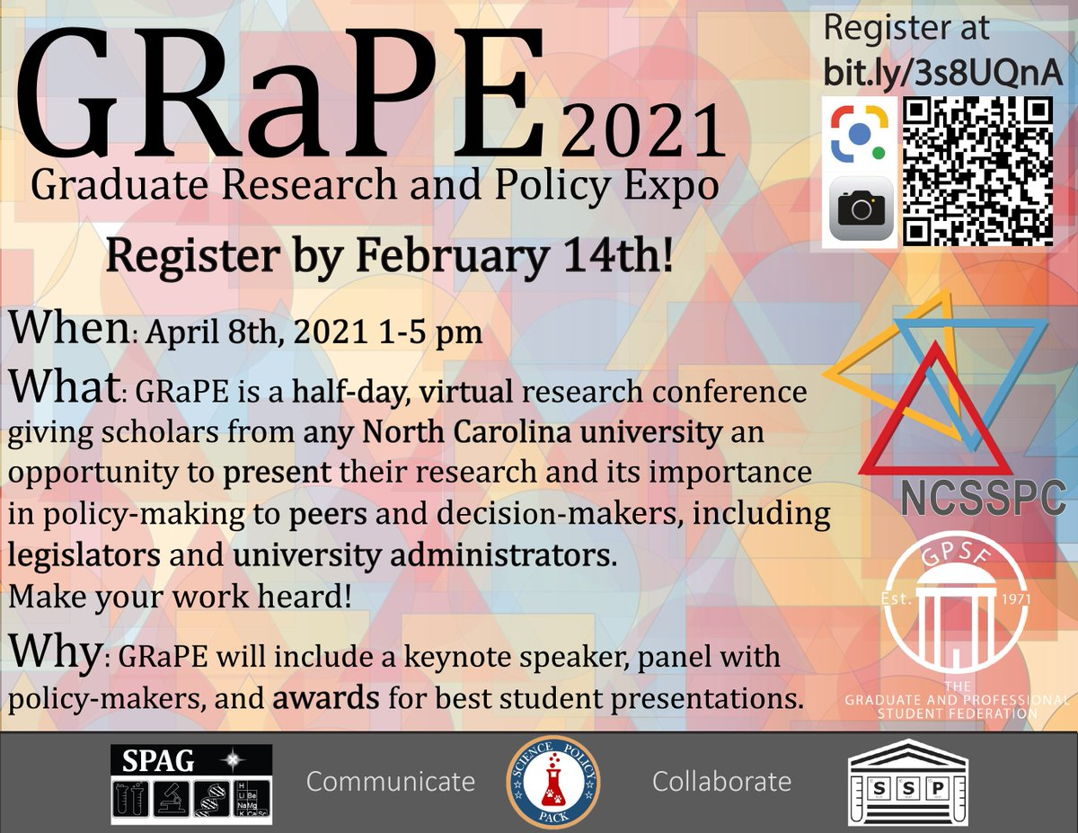 We're proud to announce the call for abstracts for the 3rd annual GRaPE 2021! GRaPE is a research conference for all NC graduate students to share their research with peers and policymakers alike! Learn more and register by Feb 14 at