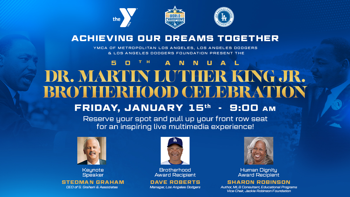 Join us for a livestream of the 50th annual Dr. Martin Luther King Jr. Brotherhood Celebration this Friday at 9 am PT! Hear from Stedman Graham, Dave Roberts and Sharon Robinson. Reserve your spot now at .