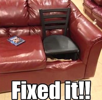 #DIYprojects #DIY #couch #couchstyle #couching #couchparty #sofa #diycrafts #diycraftsnmore #fixingthings #mrfixit #mrfixitdiy #mrfixitpro #lazyday #funnypictures #doityourself #furniturerepair #furniturerepairs #furniturerepairshop #homedeocr #livingroomdecor