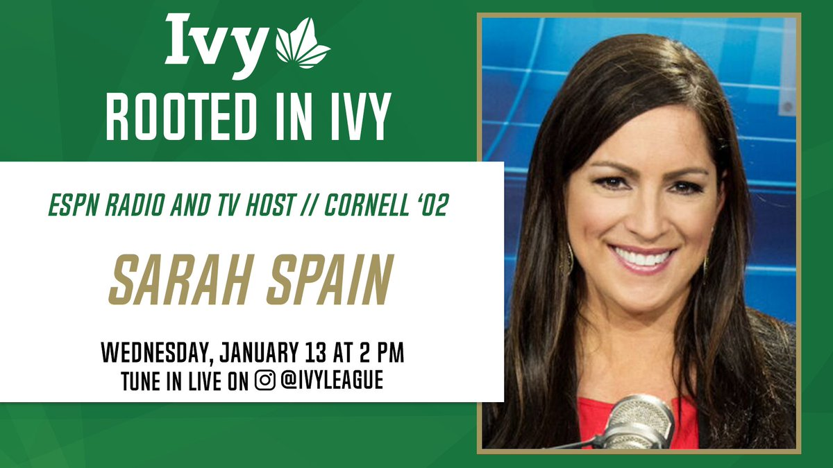 ROOTED IN IVY.   @CornellSports alum and current @ESPN host @SarahSpain will be the guest on Rooted In Ivy this Wednesday at 2 p.m. ET. Spain will look back on her days in Ithaca and dive into some of the many successes throughout her journey. 🌿 https://t.co/C4pWJc4bQt