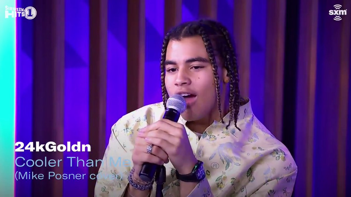 ".@24kGoldn brought the energy and passion to his cover of @MikePosner's ""Cooler Than Me."" Watch more from his @SiriusXMHits1 appearance:"