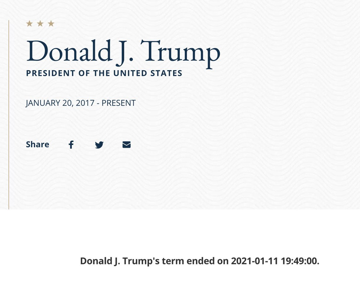 it's unclear what's going on but a page on the State Department's website currently says Trump's tenure as president ends today