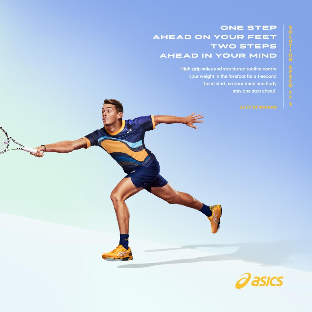 React quicker, return sooner - like Alex de Minaur. The SOLUTION SPEED™ FF 2 tennis shoe feels like a one-second head start on every ball. #SOLUTIONSPEEDFF @alexdeminaur https://t.co/000d4JZVRp