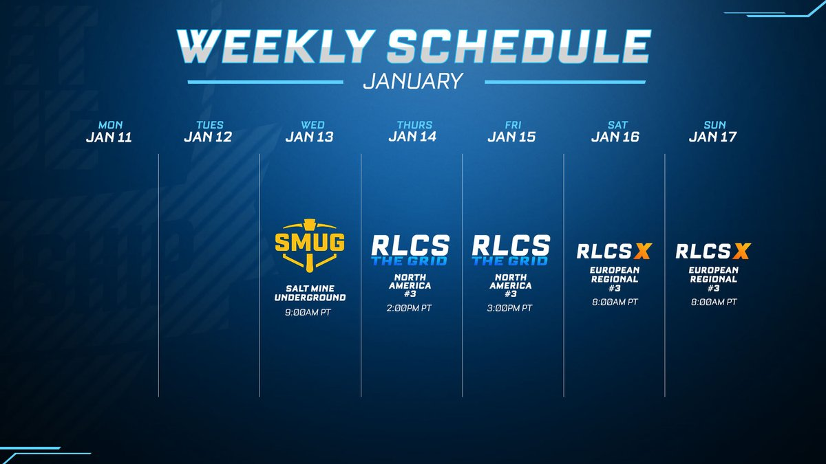 RocketLeague - Check out this week's Rocket League Esports schedule!  #SMUG, #TheGrid, and #RLCSX all have events going on. Don't miss them!