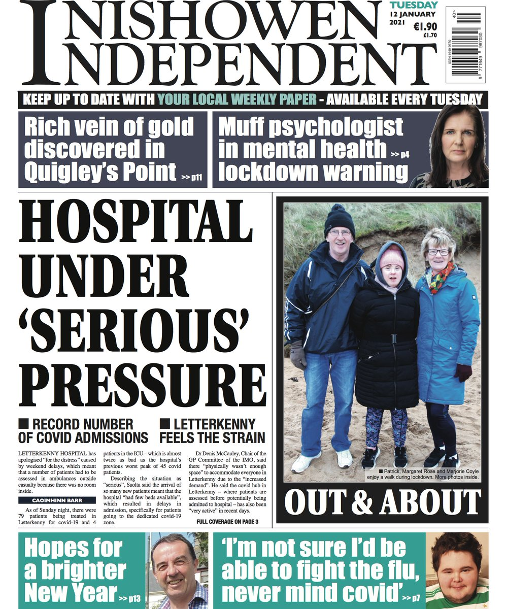 This week 🚑Letterkenny hospital under serious pressure as covid cases surge. 🟡Large gold deposits discovered in Quigley's Point ⛪️New Presbyterian minister to serve four local congregations 💡Locals tell us their hopes for 2021 🏐 GAA to go uneven ages ⚽️ Soccer clubs ranked https://t.co/rZxDpiTZpS