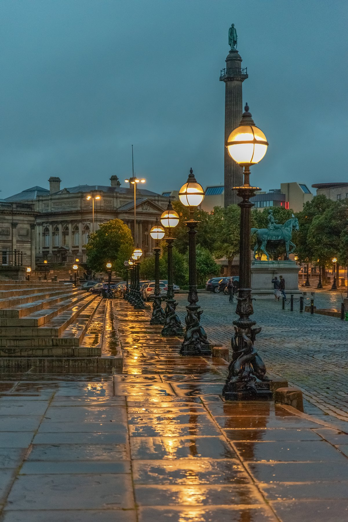 Dolphin lamp posts at night, St George's Plateau, Liverpool