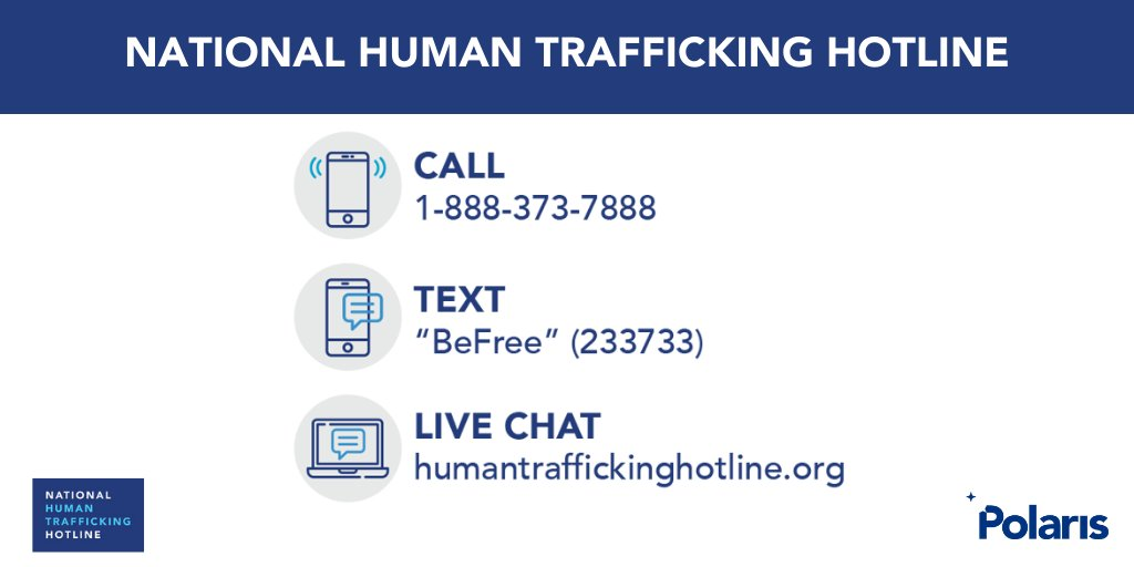 A5. Polaris operates the National Human Trafficking Hotline, which provides victims & survivors of human trafficking throughout the U.S. access to critical support and services to get help and stay safe, 24 hours a day, seven days a week. #HTAD2021 humantraffickinghotline.org/report-traffic… twitter.com/MissingKids/st…