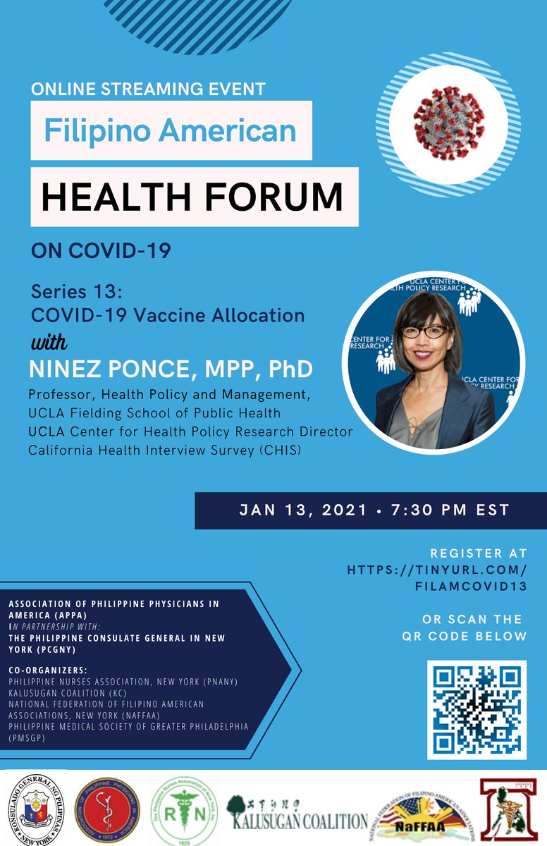 @NinezPonce, director of @UCLAchpr and @UCLAFSPH professor will be the featured speaker at the online Filipino American Health Forum this Wednesday, January 13 discussing the impact of the pandemic on the Filipinx community. Register:  ##FilAmHealthCOVID19