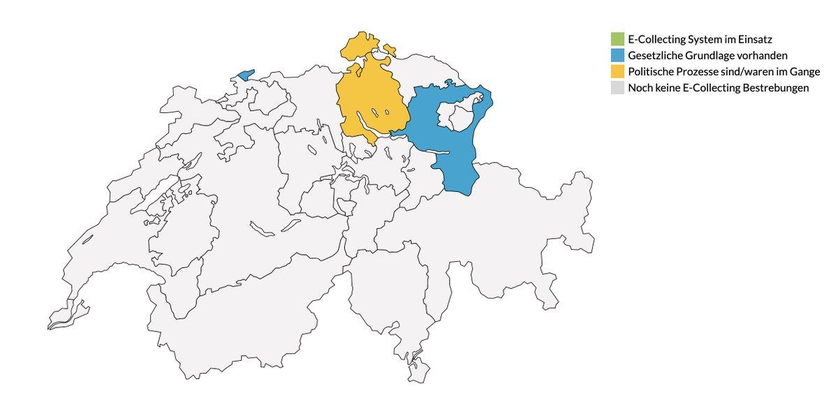 🇨🇭#eCollecting-Karte ist noch etwas leer, aber hat erste Farbtupfer. Pioniere sind Kantone Schaffhausen, Basel, St. Gallen und Zürich. 👉Ein Check im Kanton Waadt (Stadt Lausanne) und Genf wäre noch lohnenswert, @saandr0o. Oder wer weiss mehr? https://t.co/7r6qI8QTPN https://t.co/Z4xiw13sv8