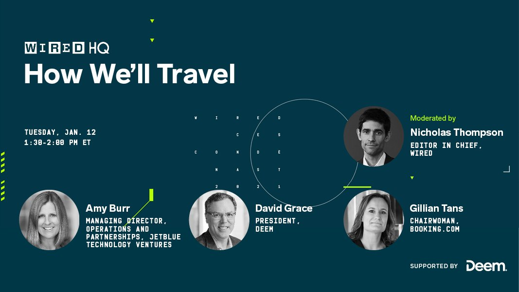 From airplanes to buses, travel is being disrupted on nearly every front. What does the future hold for the industry?  At 1:30 pm ET on Tuesday, watch some of the most influential minds in travel discuss this Q and more:  Sponsored by @deem #ad #WIREDHQ