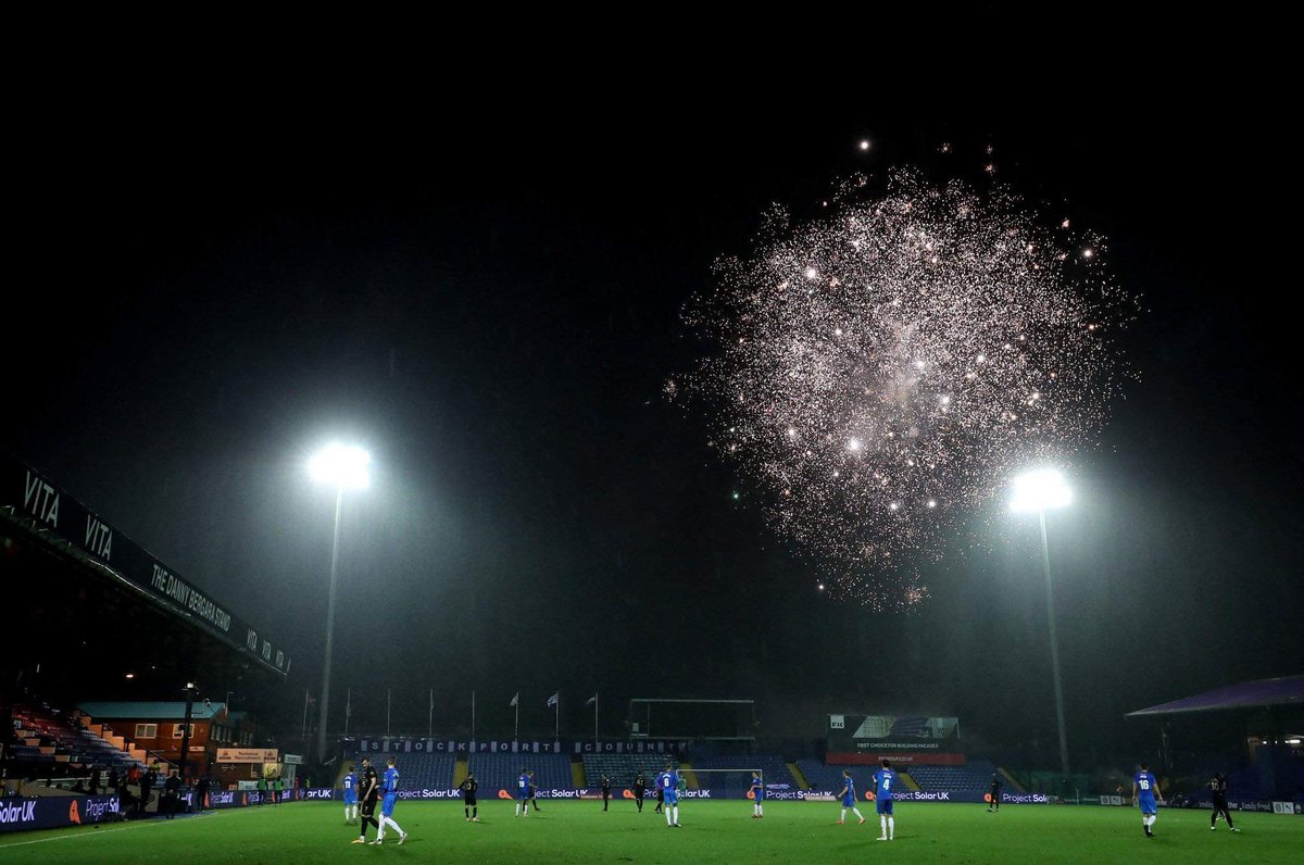 The fireworks set off outside Stockport County's ground on the 15th minute of tonight's game were for 15-year-old local lad Khai Whitehead, who is currently fighting for his life after being hit by a police car responding to a 999 call.  Let's hope he pulls through 🙏🏻
