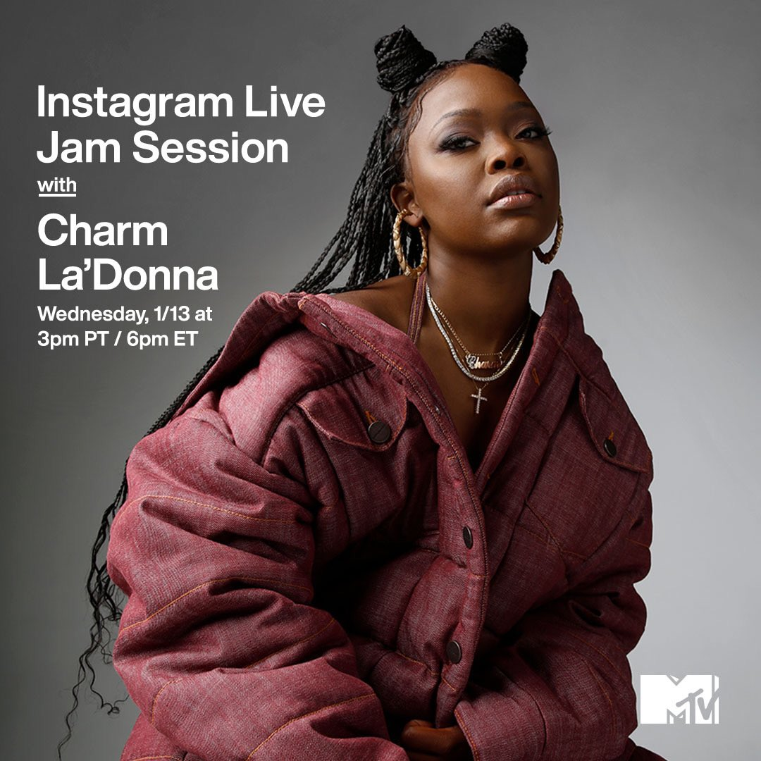 going live for an @mtv jam session 🖤🖤🖤🖤 Wednesday at 3 PM PT 💎