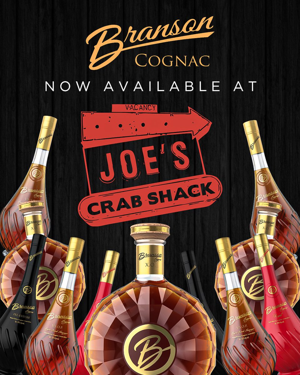 Branson Cognac is now available at all Joe's Crab Shack locations! Make sure you stop by and grab a drink off the cocktail menu! 🦀 #bransoncognac @Joes_Crab_Shack