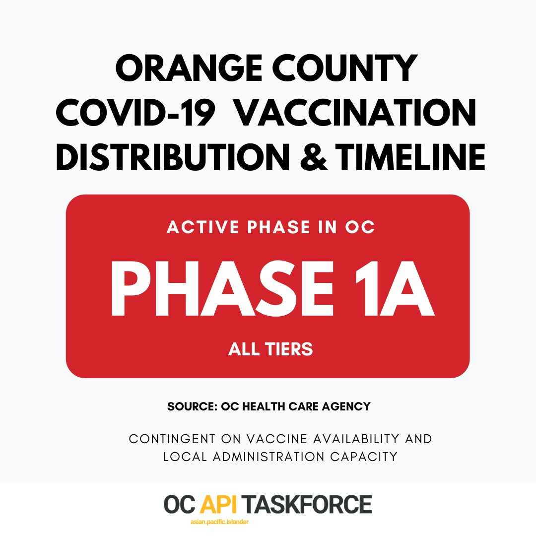 When can I get vaccinated? Learn about Orange County's COVID-19 vaccination distribution & timeline. Swipe to see which phase you belong to and when your phase will receive vaccinations.   For COVID-19 at-home test kits and resources, visit .  #AAPI2020