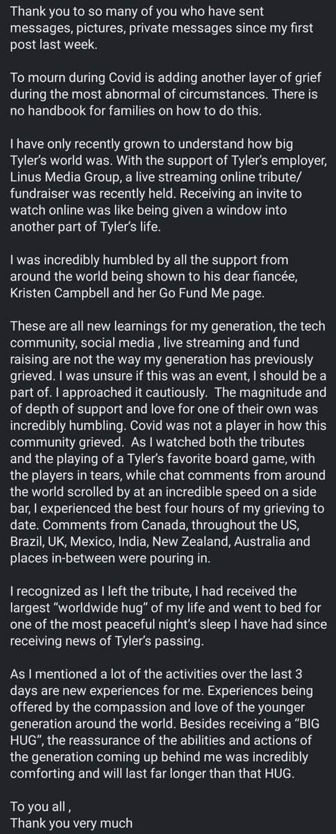A message from Tyler's mom to our amazing community!