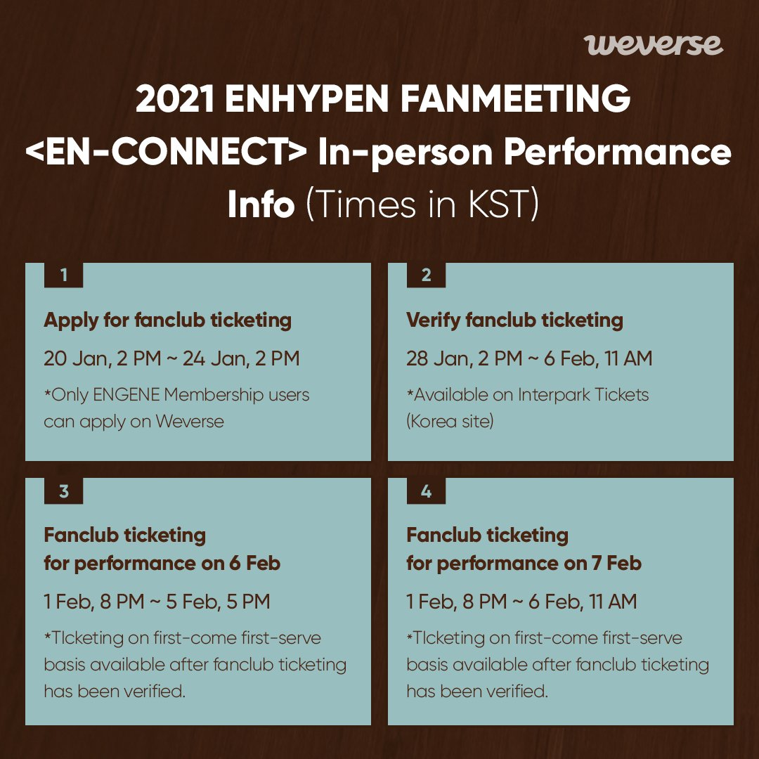 First meeting in person between #ENHYPEN & ENGENE🖤 2021 ENHYPEN FANMEETING <EN-CONNECT> In-person Performance  💡Tickets for ENGENE Membership only. 💡Apply on Weverse first, get ticket on Interpark!  More info👉 Join membership👉