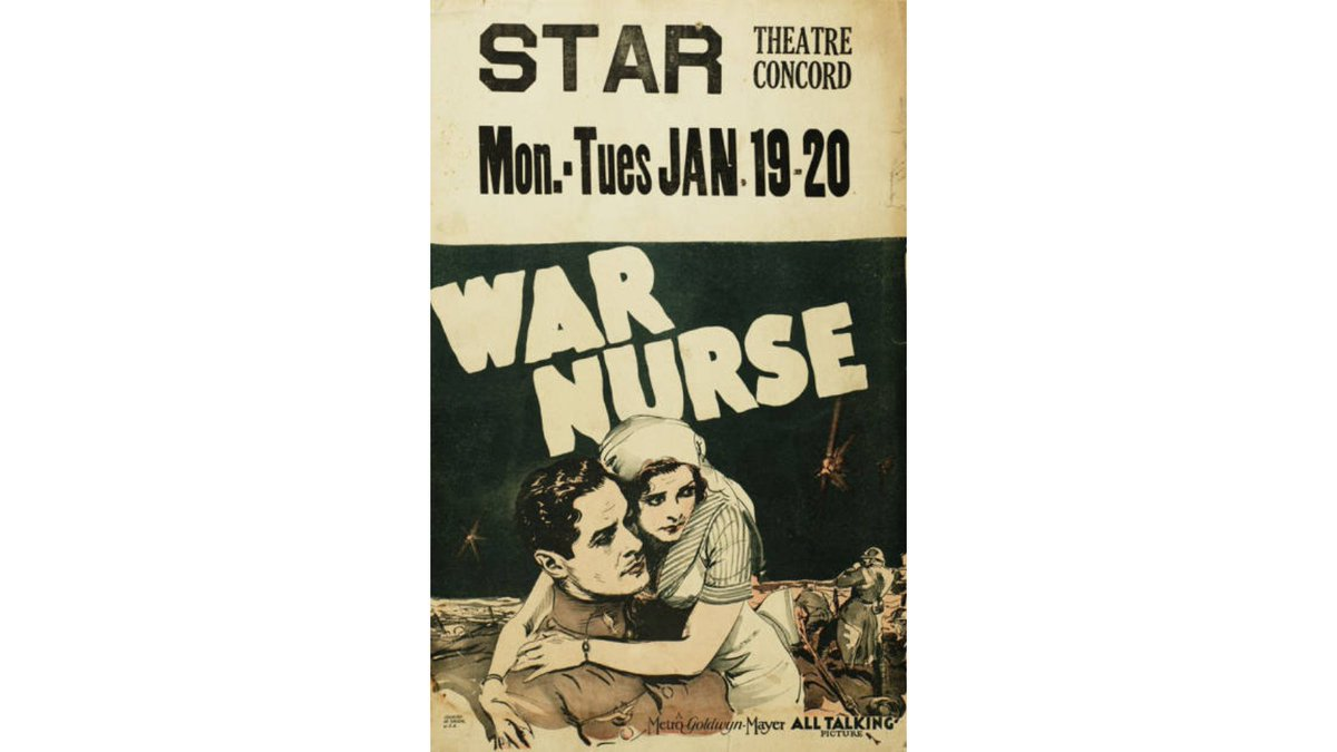 From our collection, the poster for War Nurse, screened #OTD. The film tells the story of American Army nurses who found romance with soldiers in France during World War I.