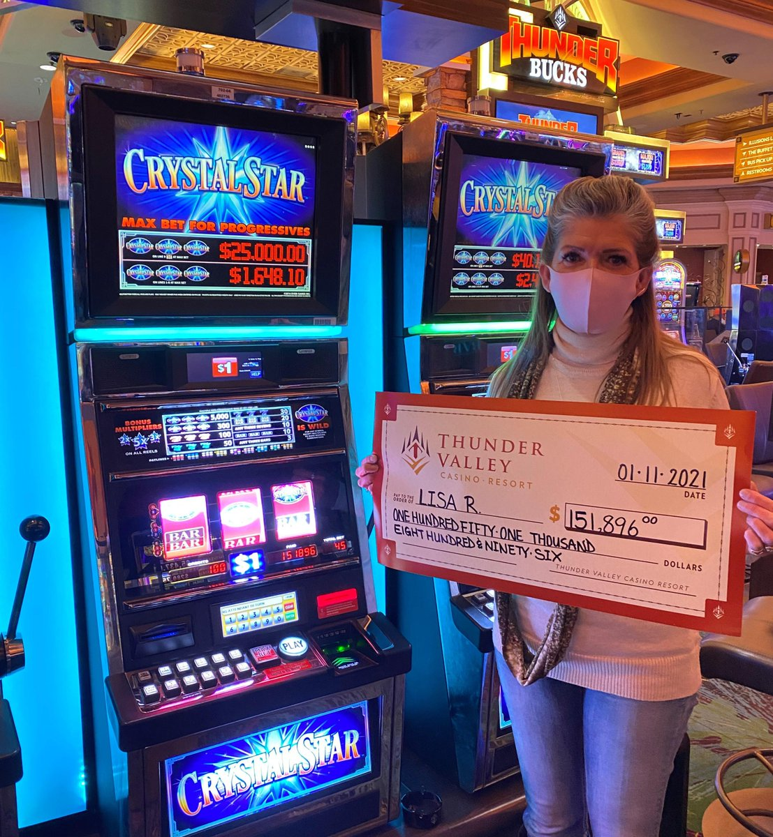 Lisa shot for the stars earlier this morning when she took home a $151,896 jackpot on Crystal Star! ⭐ 🎰💰 🎉
