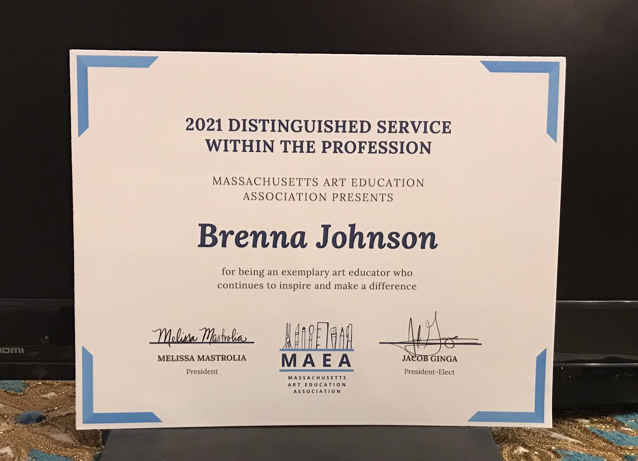 Distinguished Service Award from MAEA