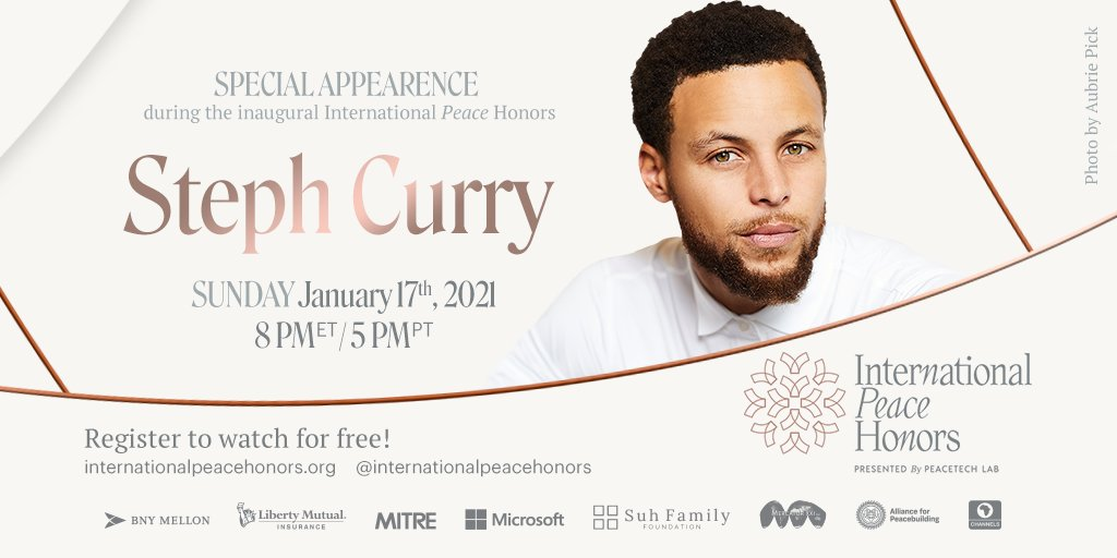 Recognized as one of the greatest shooters in NBA history and a committed star in empowering the public through awareness, @StephenCurry30 will be celebrating the @IntlPeaceHonors & will present the medal of honor to honoree #DrAnthonyFauci!🏀Register at