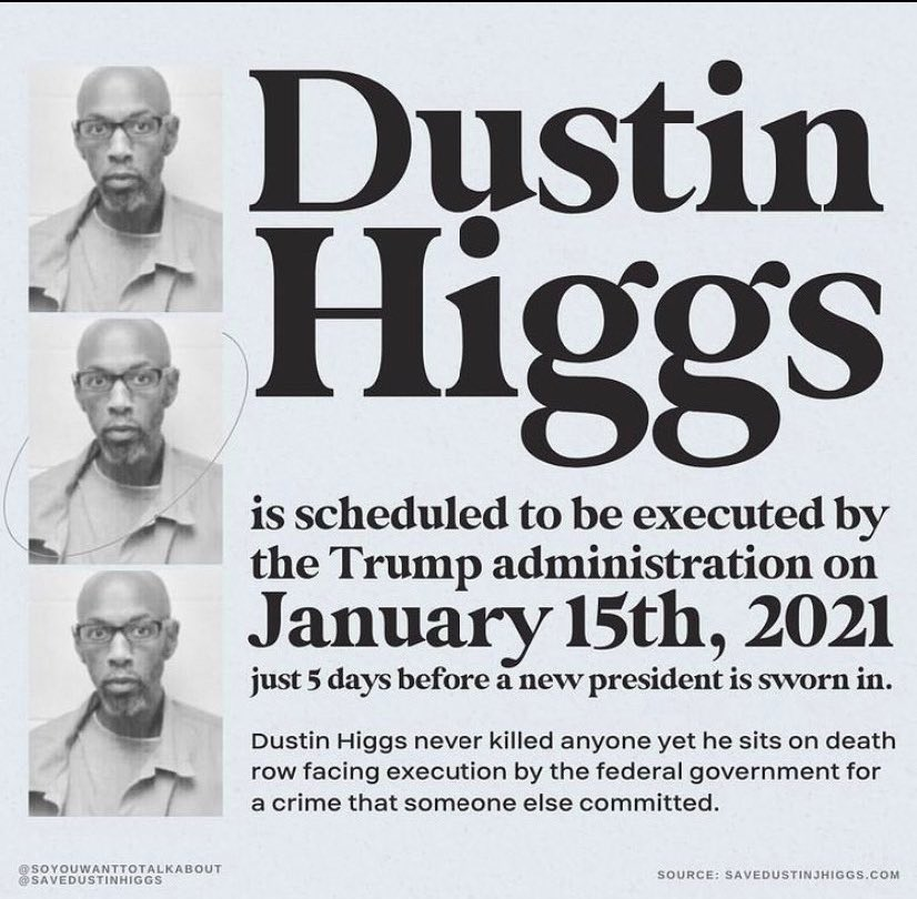 let's not repeat what happened with brandon bernard (may he rest in peace and power). we can still save dustin higgs only if people take action NOW rather than later. it takes a minute to call these numbers! #DustinHiggs