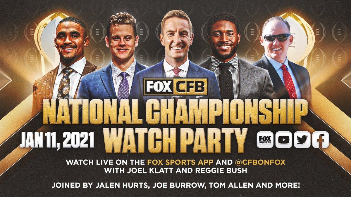 .@CoachAllenIU joins @joelklatt, @ReggieBush + more on the FOX National Championship Watch Party.  📺 Watch live tonight on @CFBONFOX's digital stream.
