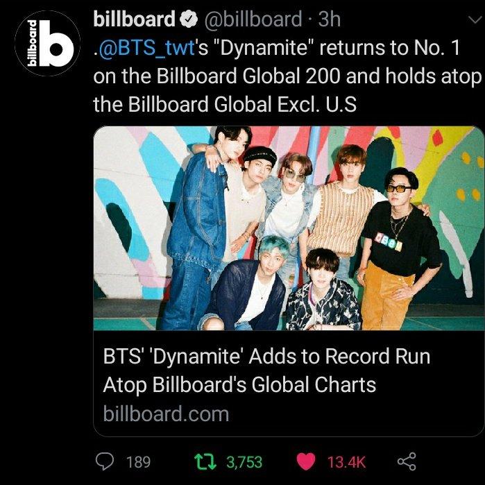 🎉🎉Congratulations BTS 🎉🎉 @BTS_twt 🏆🏆 #BTS #Dynamite #BillboardGlobal200 #BillboardGlobal