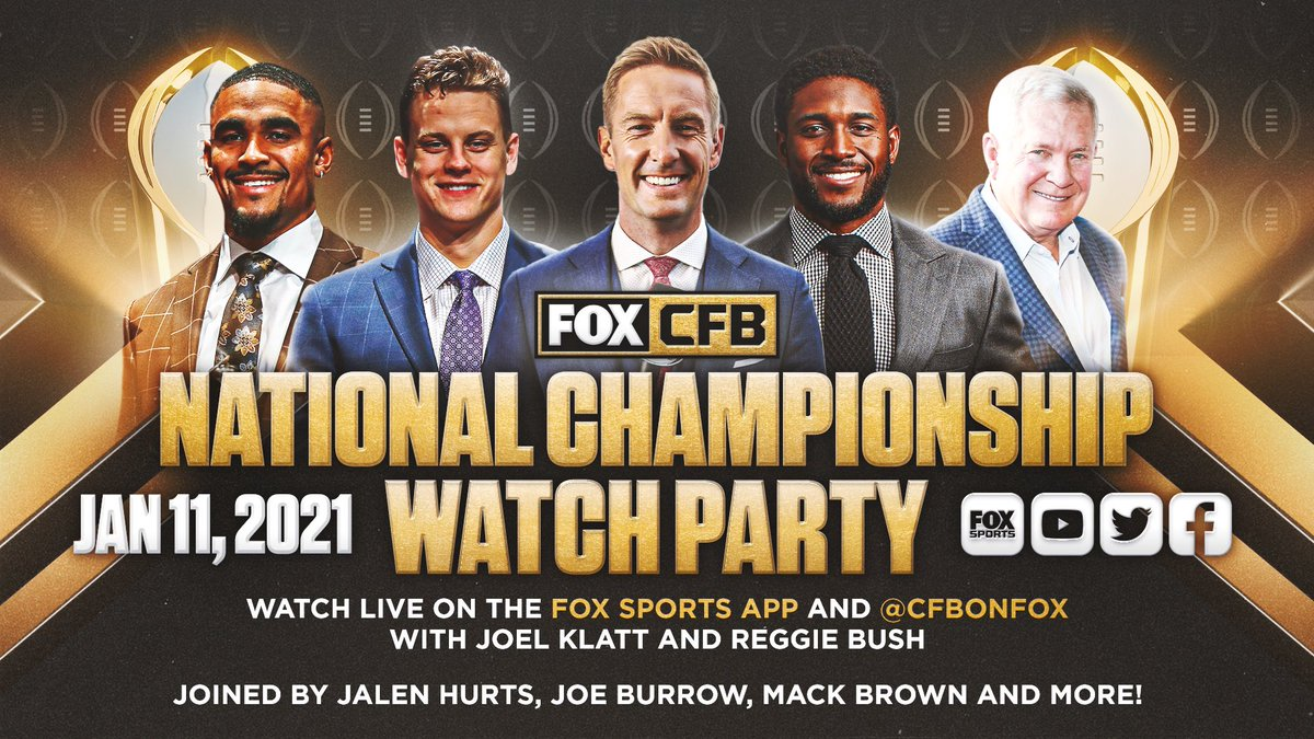 🚨 Programming Alert 🚨   @CoachMackBrown will be on the Fox Sports Watch Party tonight with about 6 minutes left in the first half of tonight's title game.   Check him out on @CFBonFOX Twitter, Facebook & Youtube accounts or at  and the Fox Sports App.