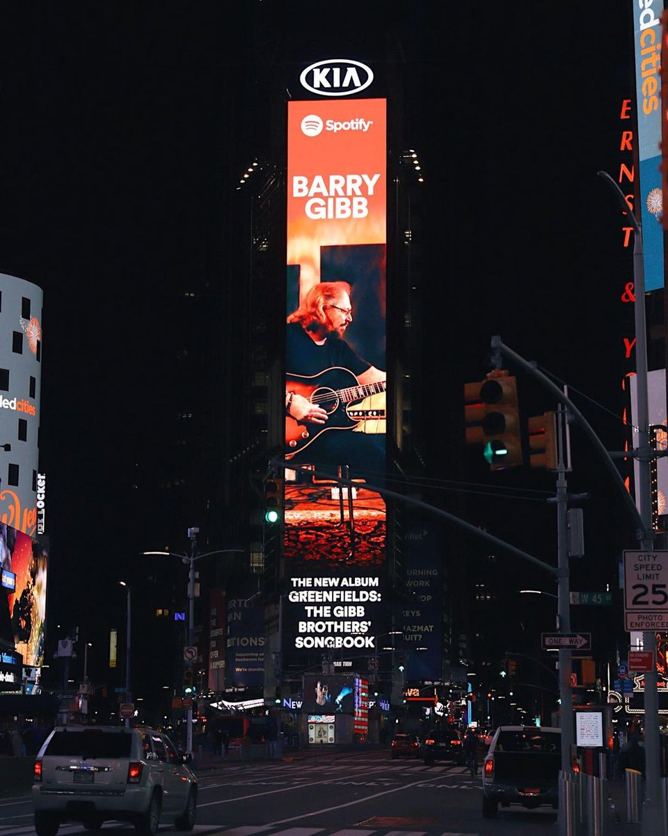 Spotted in Times Square 👀    If you haven't heard, @GibbBarry has teamed up with some of country music's biggest stars to reimagine your favorite #BeeGees classics. The brand-new album 'Greenfields' is out now!  🌾  (Photo via artisticdesire on Instagram)