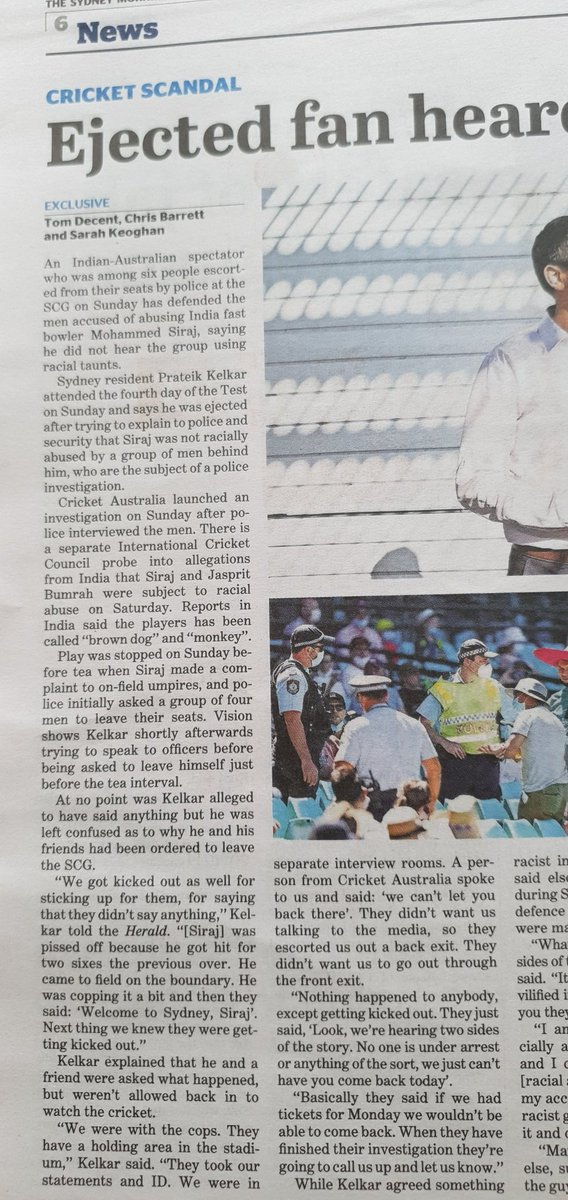 Tom @tomdecent has done some research on the evicted spectators from @scg for Siraj abuse, including that of an Indo-Australian cricket fan #INDvAUS #INDvsAUS #AUSvsIND #AUSvINDtest #SCG #racism