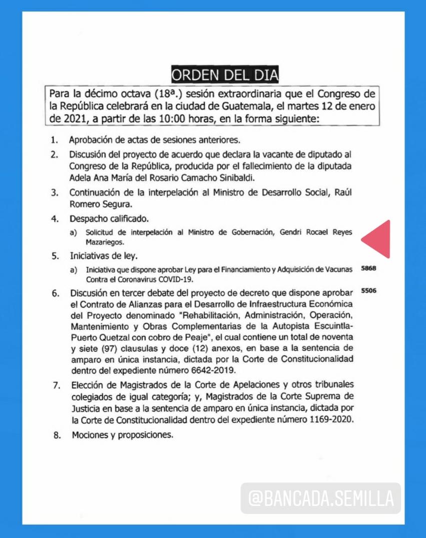 Mañana, además de la iniciativa de ley de la vacuna contra el COVID, se pondrá fecha a la interpelación que planteamos contra Gendri Reyes ✊🌱.