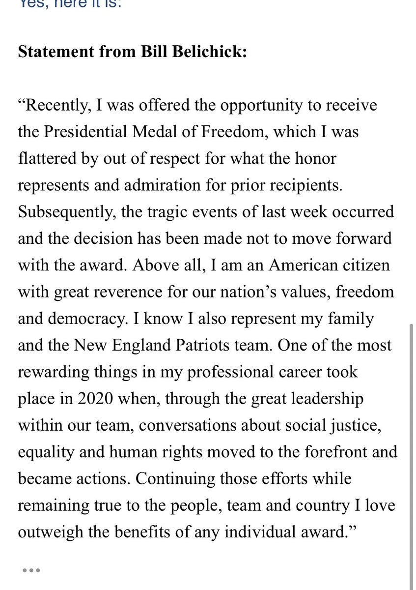 Statement from @Patriots Bill Belichick: