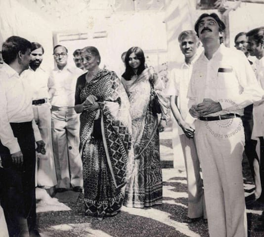 My grandmother Dr Gulbanoo Premji with my parents at Amalner. She was chairperson of Wipro from 1966-83 & a huge support for my father in the early years. She was also the most generous person I knew. Her values shaped Wipro's philanthropy ideals. #75YearsofWipro #TheStoryofWipro