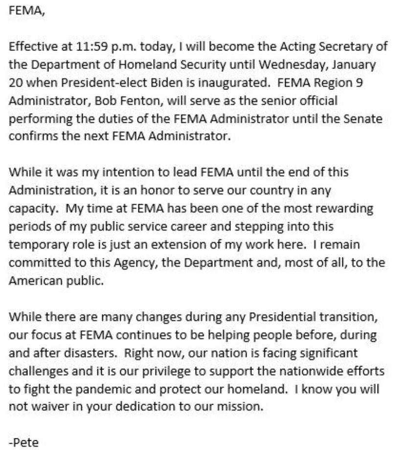 I sent this message to the @fema team earlier today. It is an honor to serve this country in any capacity. #WeAreFEMA