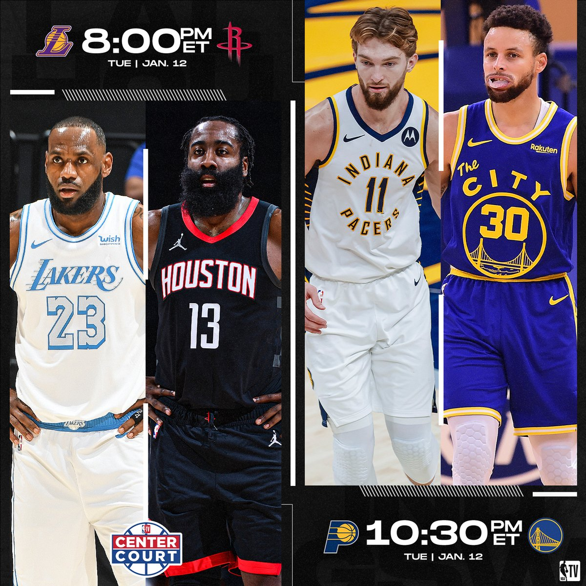 NBA TV has you covered with another #CenterCourt matchup! 🍿  @Lakers vs. @HoustonRockets // 8:00pm ET @Pacers vs. @warriors // 10:30pm ET https://t.co/mBOHRF0EZj