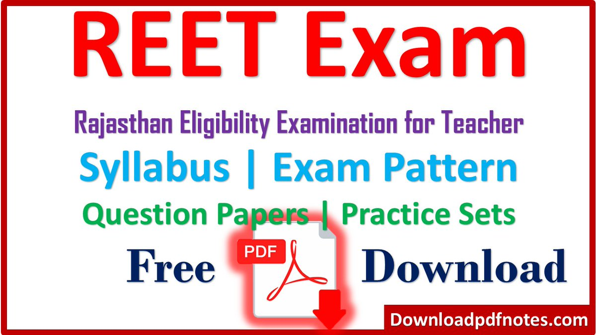[राजस्थान पात्रता परीक्षा] New Syllabus, Papers Pdf For Reet Exam 2021   Pdf Download