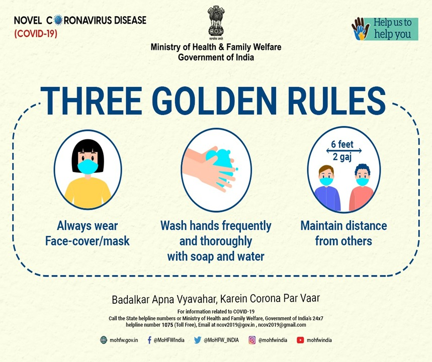 """Ministry of Health on Twitter: """"#IndiaFightsCorona Let's not forget, COVID-19  is not over yet. Wherever you are, make sure you take necessary precautions  to stay safe from COVID-19. #DoGajKiDooriMaskHaiZaruri #Unite2FightCorona…  https://t.co/fLJOmqUDhs"""""""