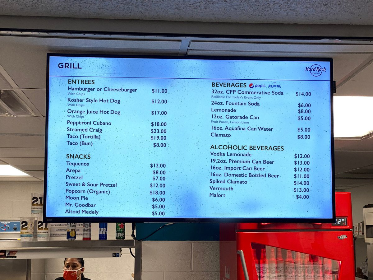 The food prices at the concession stands in Miami for the #NationalChampionship Game are crazy.