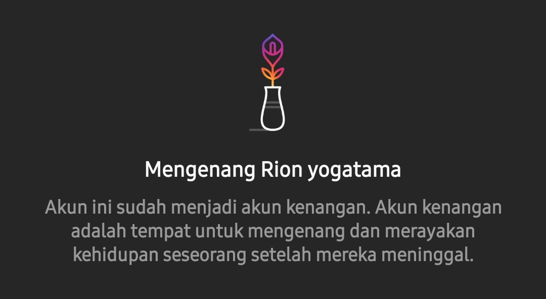 Instagaram meyematkan kata Mengenang' di akun Rion Yogatama, korban jatuhnya Pesawat Sriwijaya Air SJ-182